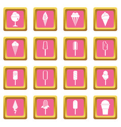 ice cream icons pink vector image
