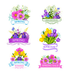 Icons of spring flowers for sale labels vector