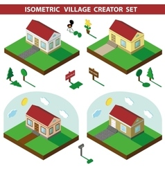 Isometric house3d village landscape creator set vector