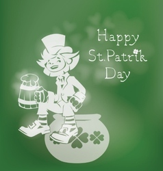 Leprechaun greeting Happy St Patrick Day vector image