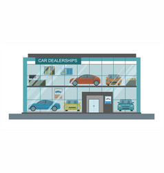 Modern car dealership showroom interior vector