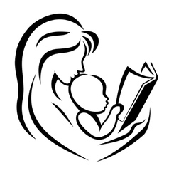 mother and child reading the book vector image vector image