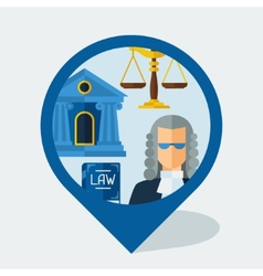 Navigation marker with law icons in flat design vector