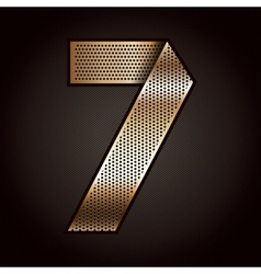 Number metal gold ribbon - 7 - seven vector image vector image