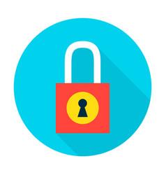 Padlock secure flat circle icon vector