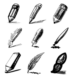 Pens and pencils collection vector image vector image