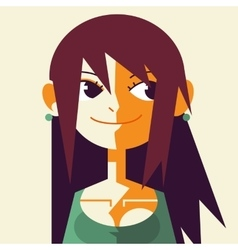 retro vintage low poly flat girl face vector image
