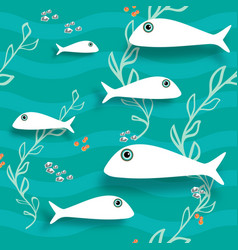 Seamless pattern with fish underwater background vector