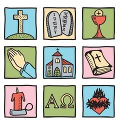 Set of christianity symbols vector