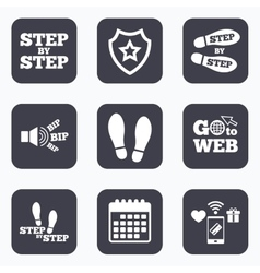 Step icons footprint shoes symbols vector