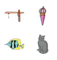 Tail animal and other web icon in cartoon style vector