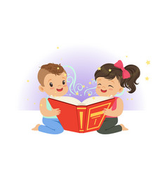 two little children reading magic book with vector image
