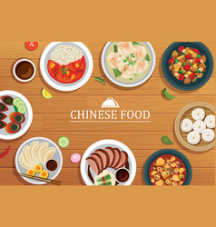 Chinese food on a wooden background chinese food vector