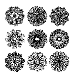 Black and white circle lace pattern collection vector