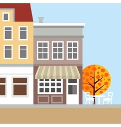 Cute background with old town houses autumn vector
