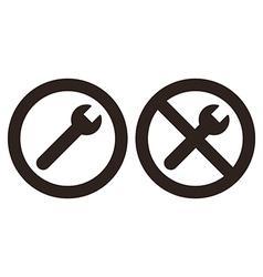 Repair and no repair symbol vector image