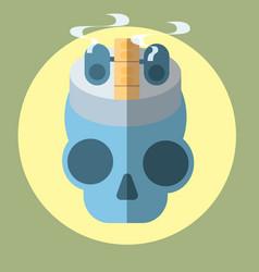 Flat icon skull drip vector