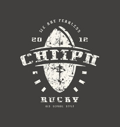 rugby championship badge with shabby texture vector image