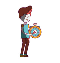 delivery man with pocket clock in the hands vector image