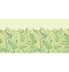 Green fern leaves horizontal seamless pattern vector