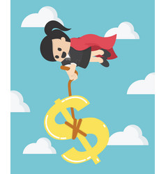 Super business woman pulling silver dollar money vector