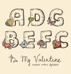 Retro valentine alphabet - a b c d e f g vector