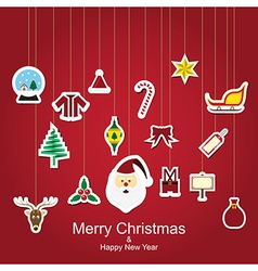 Christmas sticker icon hanging vector