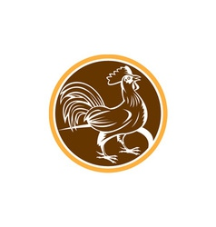 Chicken rooster side circle woodcut vector