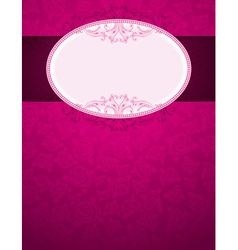 Pink background with big label and many roses vector