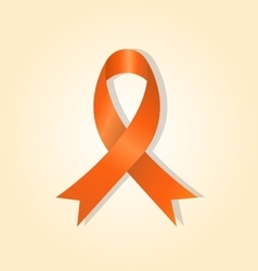Orange awareness ribbon on orange glow background vector