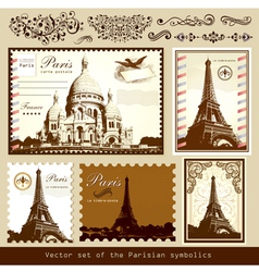 Buildings and landmarks of paris vector