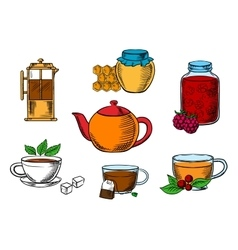 Teacups dessert and teapots icons vector