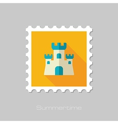 Sand castle flat stamp summer vacation vector