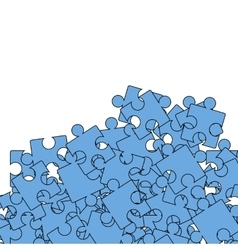 Set of blue pazzle jigsaw pattern vector
