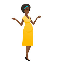 African confused pregnant woman with spread arms vector