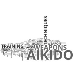 Aikido technique weapon text word cloud concept vector
