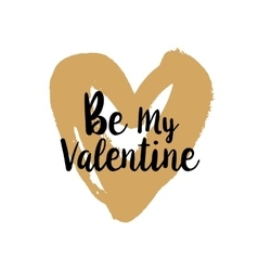 Be my valentine on golden heart vector