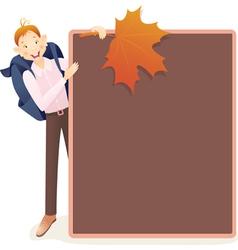 Boy and school board vector image vector image