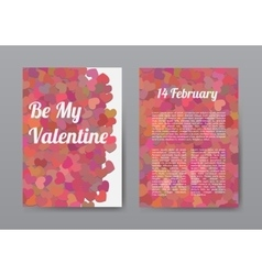 Brochure Happy Valentines Day with Red Hearts vector image