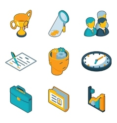 Business icons isometric 3d signs of vector