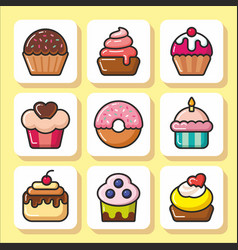 Cakes muffins sweets icons 1 vector