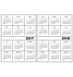 Calendar template 2017 2018 vector image