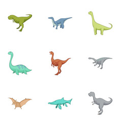 carnivorous dinosaurs icons set cartoon style vector image