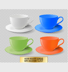 Colored ceramic cups for tea on a transparent vector