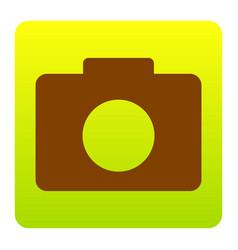 digital camera sign brown icon at green vector image vector image