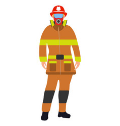 Fireman flat icon service 911 cartoon vector