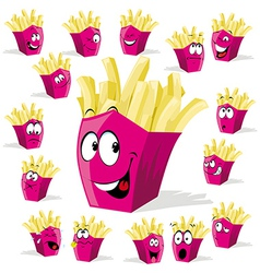 french fries cartoon vector image vector image