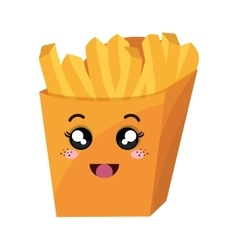 french fries kawaii style vector image