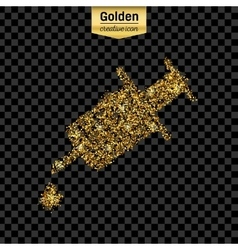 Gold glitter icon of syringe isolated on vector