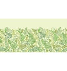 Green fern leaves horizontal seamless pattern vector